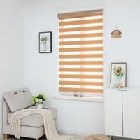 cortina de rolo de cebras venda por atacado-Zebra Blinds Horizontal Window Shade camada dupla rolo cortinas da janela corte personalizado para Tamanho Khaki cortinas para sala