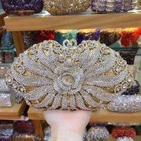 caja de diamantes de imitación embrague al por mayor-XIYUAN MARCA Estuche rígido caja regalos Mujer oro Cristal Embragues de la tarde Bolsos Bolso nupcial Rhinestones Embrague de la mano Monedero de la boda