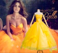 Wholesale belle costumes for women for sale – halloween Belle Golden Costume For Women Party Girl Long Cosplay Dress Cos Custom Made
