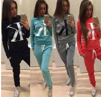 ingrosso pantaloni del vestito di seta della donna di modo-2018 New Fashion 2 pezzi di abbigliamento Set donne Crop Top e pantaloni tuta da donna sexy per il tempo libero due pezzi Tuta
