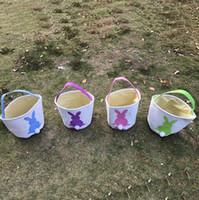 Wholesale Purple Bunnies - Easter Rabbit Basket Easter Bunny Bags Rabbit Printed Canvas Tote Bag Egg Candies Baskets 4 Colors OOA3960
