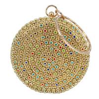 Wholesale designer handbags crystal - Designer Round Ball Evening Clutch Bag Gold Diamond Purse Handbag Women Wedding Bridal Golden Crystal Diamond Chain Clutch