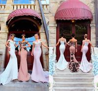 mütevazı stil elbiseler toptan satış-Mütevazı Ülke Stil Kapalı Omuz Mermaid Uzun Gelinlik Modelleri 2018 Dantel Aplike Fermuar Zarif Uzun Sweep Tren Onur Elbise Hizmetçi