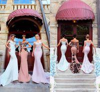 Wholesale modest sky blue bridesmaids dresses resale online - Modest Country Style Off the Shoulder Mermaid Long Bridesmaid Dresses Lace Appliqued Zipper Elegant Long Sweep Train Maid Of Honor Gown