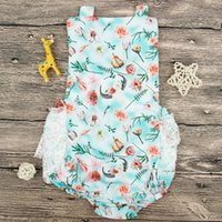 Wholesale class printing for sale - Baby Girls Romper Floral Printed Summer Suspenders Sleeveless Jumpsuit Buckled Cotton Polyester Blending Breathable Cool M Class A