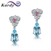 милые серебряные белые ногти оптовых-Fashion Aquamarine Natural Gemstone Diamond 14K White Gold Engagement Wedding Drop Stud Earrings Set for Women