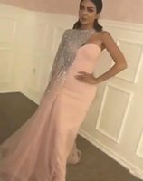 Wholesale two pieces asymmetrical prom dress for sale - Group buy Matte Pink Prom Dresses Evening Gowns with Blingbling Silver Sequined Beaded Asymmetrical One Shoulder Cape and Train Long Cheap Formal Gown