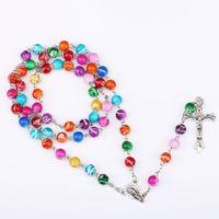 Wholesale Wholesale Catholic Jewelry - Catholic Rosary Madonna Jesus Cross Necklace Pendants Prayer Beads Pearl Chain Fashion Jewelry Gift for Women Men Drop Shipping
