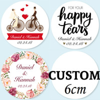 Wholesale 6CM Pieces Customized Personalized Wedding Stickers Logos Candy Favor Boxes Tags Cupcake Bottle Labels Invitations Seals