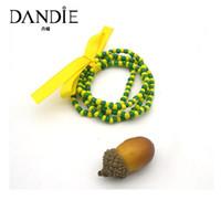 ingrosso acrylic bow beads-Dandie Trendy - Perle acriliche gialle verdi Bracciale a fiocco giallo, Per indossare ogni giorno una donna