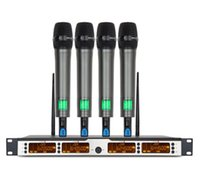 ingrosso karaoke marche microfono wireless-Nuovo sistema microfonico wireless 4 x 100 canali UHF Karaoke 4 Custodia per microfono palmare senza fili