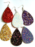 Wholesale leather earrings wholesale - Christmas Gift Kendra Style PU leather glitter sparkly Oval Earrings Fashion Dangle Earrings for Women