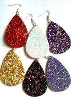 Wholesale christmas earrings online - Christmas Gift Kendra Style PU leather glitter sparkly Oval Earrings Fashion Dangle Earrings for Women