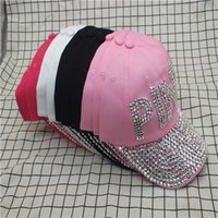 quality design f025b dd545 Women Rhinestone Hat Christcross Row Soild Color Pink Cotton Fashion Cowboy Baseball  Caps Sunscreen Snapback Factory Direct 15 5pc hhWW