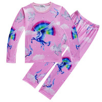 Wholesale clothes horses resale online - Baby Animal horse print pajamas outfits cotton boys girls print top pants set cartoon kids Clothing Sets C3508