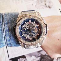 uhren beobachten großhandel-Herrenmode Großes Zifferblatt Quarz Uhren Luxus Herren voll funktionsfähig Quarz Strass Diamond Inlay Uhr Zifferblatt Quarzuhren