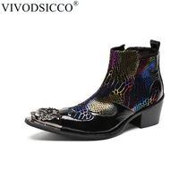 botas italianas hombres botas al por mayor-VIVODSICCO Moda Hombre de lujo Botas de cuero genuino Botines Sanke Hombres Zapatos de vestir de negocios italianos Dedo del pie Cowboy