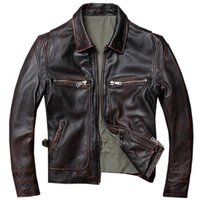 vintage кожаный мотоцикл куртка коричневый оптовых-Genuine Cowhide Leather Jacket Men Vintage Brown Black Slim Motorcycle  Clothing Casual 100% Cow Leather Coat Free Shipping