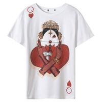 ingrosso carte coreane-T-shirt Fashion Runway 2018 Summer New Poker Cards Stampa T-shirt manica corta casual da donna T-shirt donna coreana