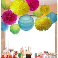 ingrosso lanterne di carta blu-(Rosa, blu, giallo) Set di decorazioni per la tavola (Lanterna di carta, Pom Pom) Matrimonio Baby Shower Girl Party Nursery Decoration