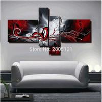 Peint à La Main Peinture à Lu0027huile Abstraite Rouge Noir Blanc Toile De Mur  Art Rouge Mur Noir Photo Peintures Modulaires Pour Le Salon