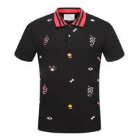 gelbes poloshirt schlank großhandel-Frühlings-Luxus Italien T-Shirt Designer-Polo-Hemden High Street-Stickerei-Strumpfband-Schlangen Kleines Bienen-Druck-Kleidungs-Mens-Marken-Polo-Hemd