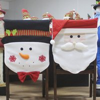 ingrosso coprisedili per feste-Christmas Chair Cover Case Pouch Gift Mr Babbo Natale / pupazzo di neve Xmas Holiday Party Home Seat Sedia Party Table Case Slipcover Decor