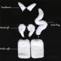 weißer heckstoßstecker großhandel-Weiß Sexy Faux Fuchsschwanz Handschellen Fußfesseln Stirnband Cosplay Set Analplug Silikon Butt Plug Erotikspiele Sexspielzeug Für Frauen