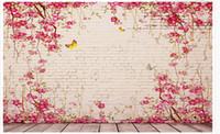 fotos de azulejos al por mayor-Custom 3d Photo Wall paper Original pastoral vine pink tile pared del fondo Home Decor Living Room Wall Covering