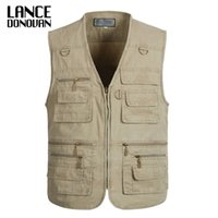 Wholesale new tactical vest - PLUS SIZE XL XL XL XL XL Tactical Vest Men New Arrival Multi pockets Photography Cameraman Vest Men Casual Suit Vest
