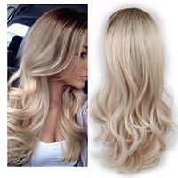 ingrosso parrucca marrone bionda capelli-Parrucca sintetica per capelli ad alta densità bionda color cenere marrone scuro per parrucca per capelli ondulati glueless