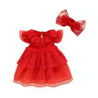 robe de fête de dentelle rouge bébé achat en gros de-Nouveau-né bébé fille robes d'été + bandeaux 0 1 année fleur rouge dentelle robe de princesse fête d'anniversaire bébé vêtements robe infantil