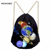 mini estrela 3d venda por atacado-INSTANTARTS Planeta Moda Saco de Cordão 3D Galaxy Star Imprimir Mulheres Dos Homens Cordão Mochila Escola Menina Mini Bagpack Satchel