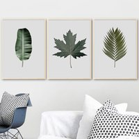 Wholesale decorative wall art canvas painting resale online - Tropical Plants Banana Bamboo Leaves Wall Art Canvas Painting Minimalist Nordic Posters and Prints Decorative Picture Home Decor