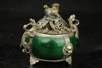 Wholesale tibet silver blue jade resale online - Chinese Old Tibet Silver Dragon Jade Incense Burner
