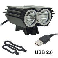 farol led anel venda por atacado-Luz de bicicleta USB Solarstorm Ciclismo lâmpada 2 X T6 LED 5000 Lumen luz da bicicleta headLamp + O ring (sem carregador de bateria)
