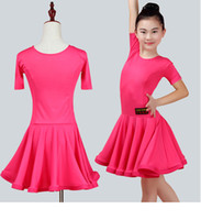Wholesale Kids Tango Dresses - New children Kids Girls Latin dance dress Round neck Short Sleeve chacha tango ballroom costumes Practice Dance Dress Competition clothing 2