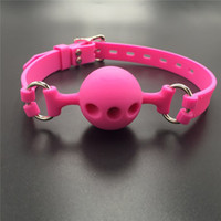 Wholesale pink bdsm restraints - 38mm 43mm 48mm Full Silicone Open Mouth Ball Gag in Adult Game Bondage Restraints Sex Products BDSM Toy Couple Sex Toys