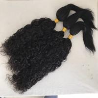 ingrosso tessitura dei capelli umani tesse-Treccia d'acqua a treccia diritta nelle estensioni dei capelli umani 3 fasci di capelli vergini peruviani tessono FDshine da 8-28 pollici