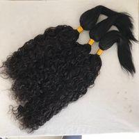 Wholesale weft virgin braiding hair for sale - Water Wave Straight Braid in Human Hair Extensions Bundles Peruvian Virgin Hair Weaves inch FDshine
