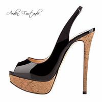 Wholesale leopard gladiators - 2018 summer high heels platform peep toe stilettos fashion Leopard green cork sandals shoes for woman ladies sexy party shoes