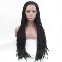 Wholesale premium lace front - High Quality Black 1b#Color Synthetic Braided Lace Front Wigs For Women Heat Resistant Fiber Hair Wigs Premium Braid Wigs with Baby Hair
