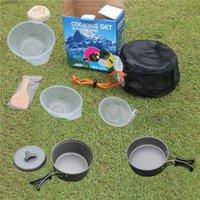 ollas de cocina de camping sartenes al por mayor-Utensilios de cocina de camping Mess Kit Mochilero equipo de senderismo al aire libre equipo de cocina Cookset durable, ligero Pot Pan cuencos bolsa de nylon H226Q