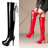 Wholesale pole dance halloween resale online - Super Sexy Women Shining Red and Black Nightclub Pole Dancing Girl Patent Leather Platform High Heel Thigh High Ladies Boots