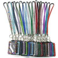 dikey kimlik kartı rozet tutacağı toptan satış-Bling Rhinestone Kristal Boyun İpi Askı Özel İpi Ile Dikey PU KIMLIK Kartı Rozeti Tutucu