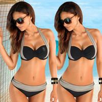 Hot selling 2018 New Sexy Bikinis Women Swimsuit High Waisted Bathing Suits Swim Halter Top Push Up Bikini Set Beach Plus Size Swimwear XXXL