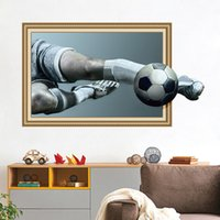 Wholesale football wall decor - Stickers 3D Football Wold Cup Creative Wall Sticker Elf-adhesive Waterproof PVE Bedroom Wall Decor Sticker Home Decoration GGA305 30PCS