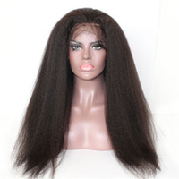 Wholesale Kinky Straight Density Wigs Human Hair Front Lace Natural Color Black White Woman Remy Vrigin Brazilian Wig