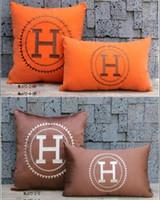 kreis wohnkultur großhandel-Gestickte Luxus H Brief und Kreis Muster weichen Samt Kissen Kissen Lendenkissen Signage H Orange und Brown Home Fabric Decor Kissen