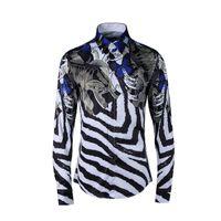 rayas de cebra delgada al por mayor-Moda de lujo camisas de lujo de los hombres camisa ocasional de los hombres vestido social camisas camisas Slim Fit Zebra rayas de rayas impresas camisas de esmoquin
